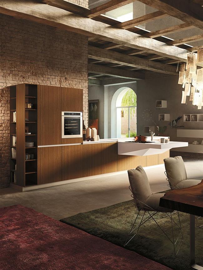 Индустриальная кухня с мебелью от компании Snaidero.