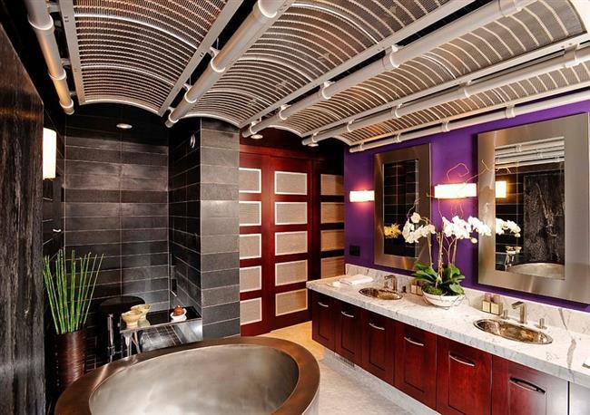 Ванная комната в азиатском стиле с элементами фиолетового.