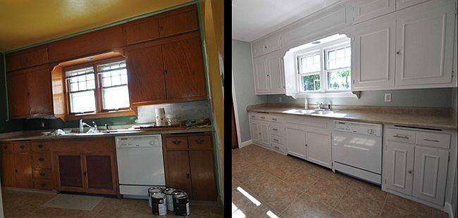 Белый цвет — отличное решение для темной, скучной кухни.
