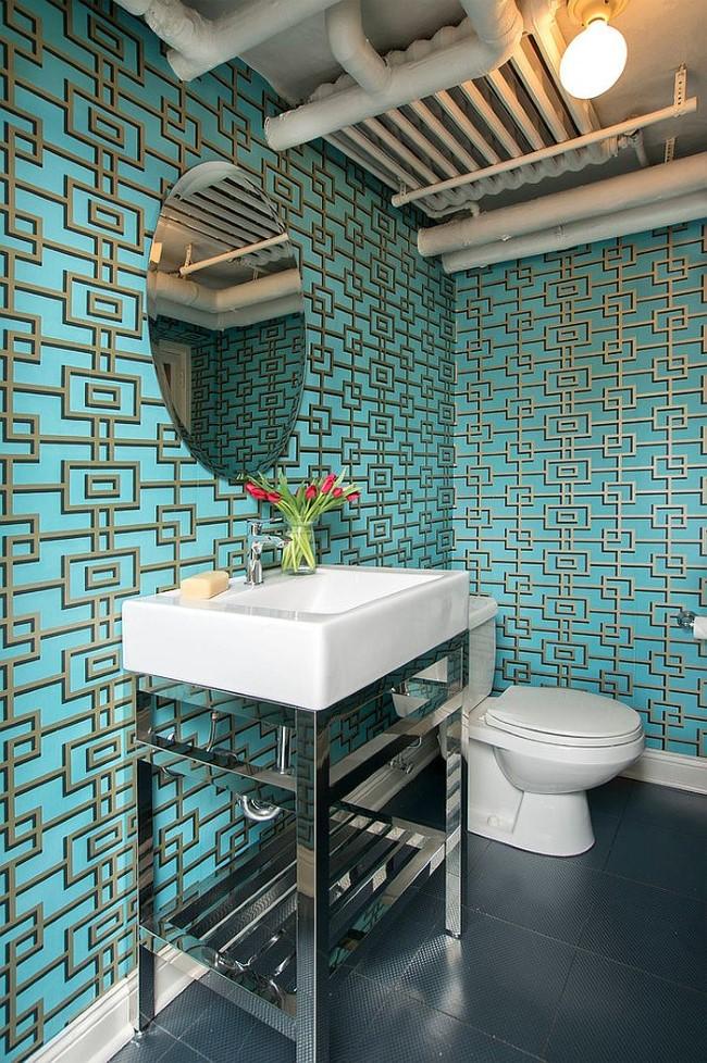 Обои ванной с необычными, объемными 3D рисунками.