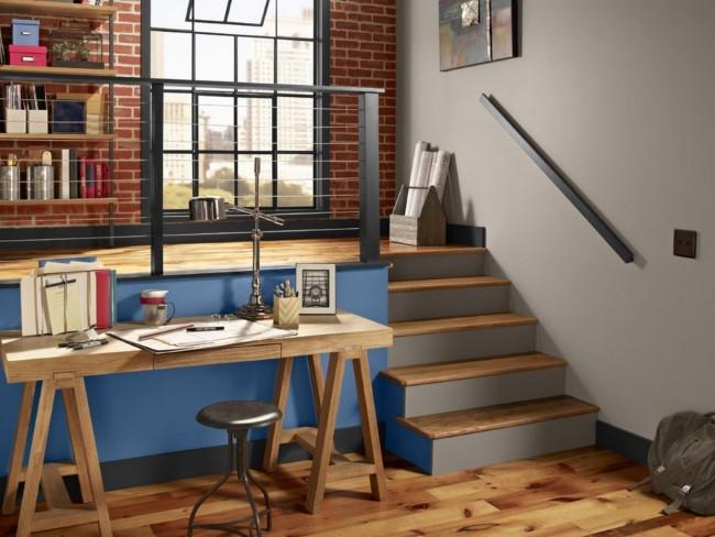 Уютное рабочее пространство в индустриальном стиле.