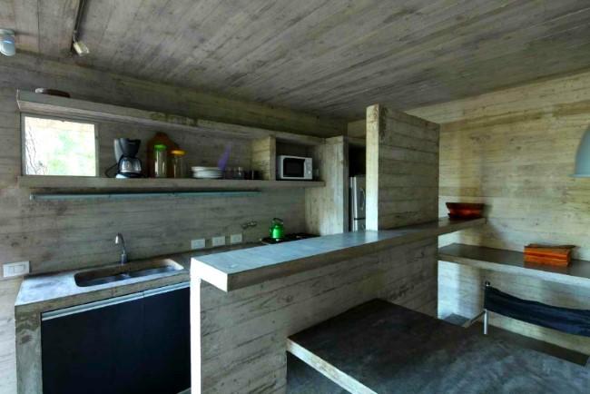 Бетонная столешница в современной кухне.