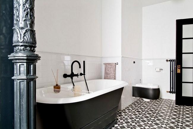 Минималистическая ванная с элементами индустриального стиля.