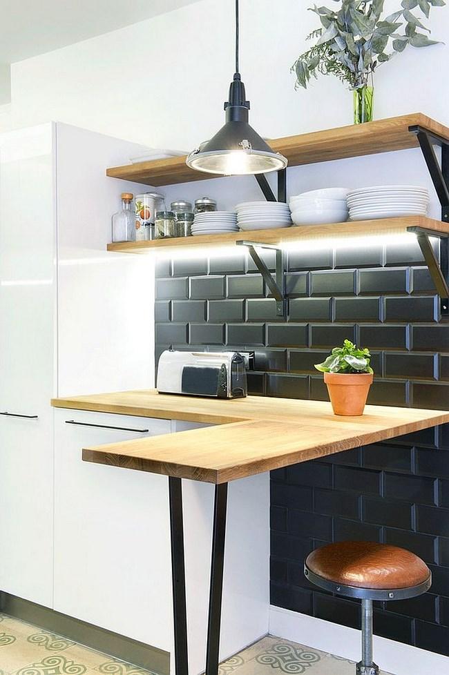Небольшой кухонный уголок в скандинавском стиле.