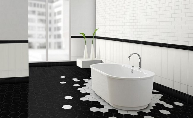 Необычная композиция из плитки на полу ванной комнаты.