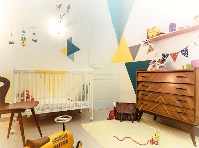 Обои для детской комнаты с геометрическими рисунками и узорами.