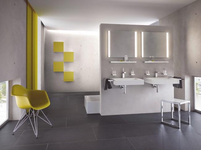 Желто-серый мебельный комплект от компании M 40 HEWI.