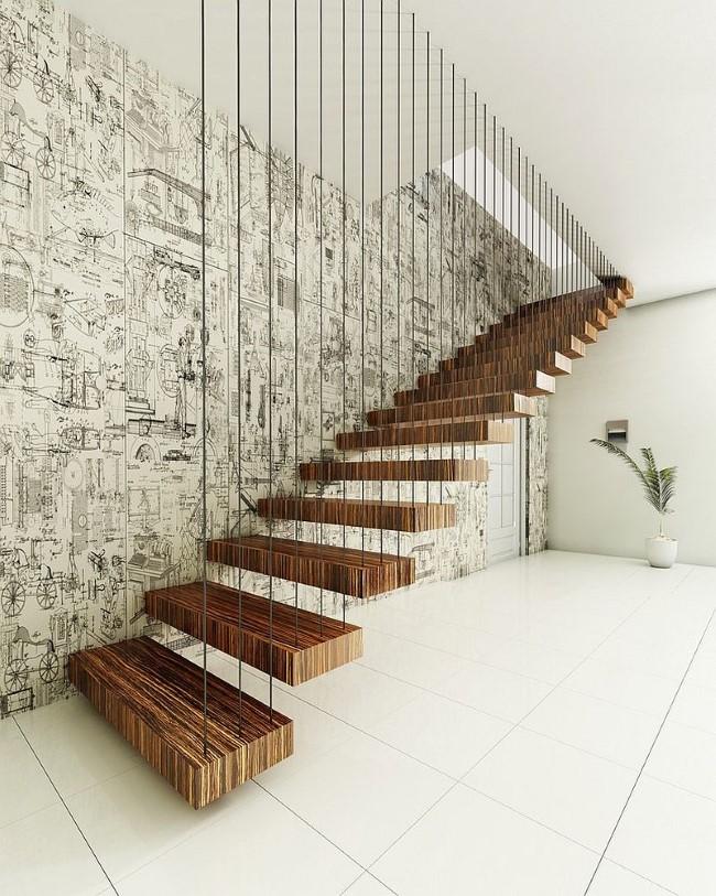 «Плавающая» лестница с деревянными ступенями от компании By Finesse.