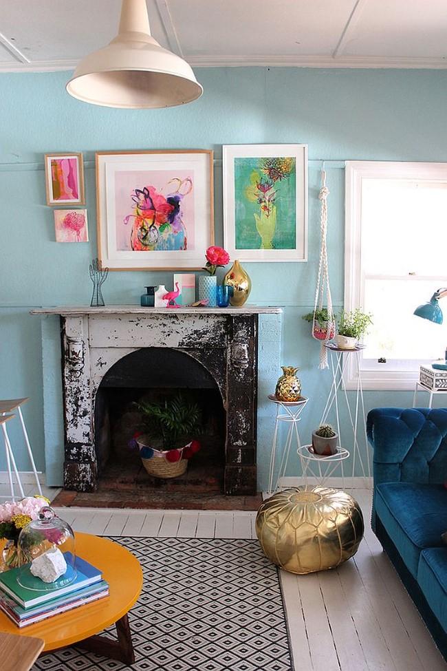 Голубая винтажная гостиная в стилевом направлении шебби шик.