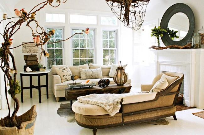 Светлая винтажная гостиная в стиле шебби шик.