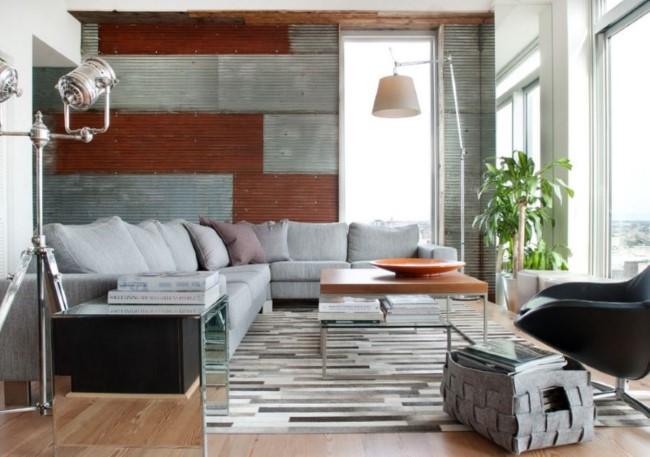 Гофрированные изделия из металла для интерьера дома в индустриальном стиле.