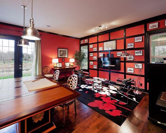 Сочетание красного, черного и белого цвета в интерьере стильного домашнего офиса.