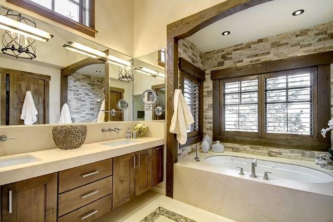 Современная ванная комната с элементами деревенского стиля.