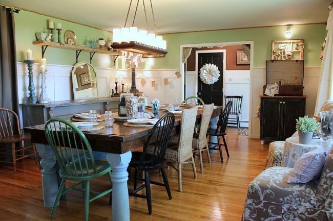 Шебби шик и деревенский стиле в интерьере столовой-гостиной.