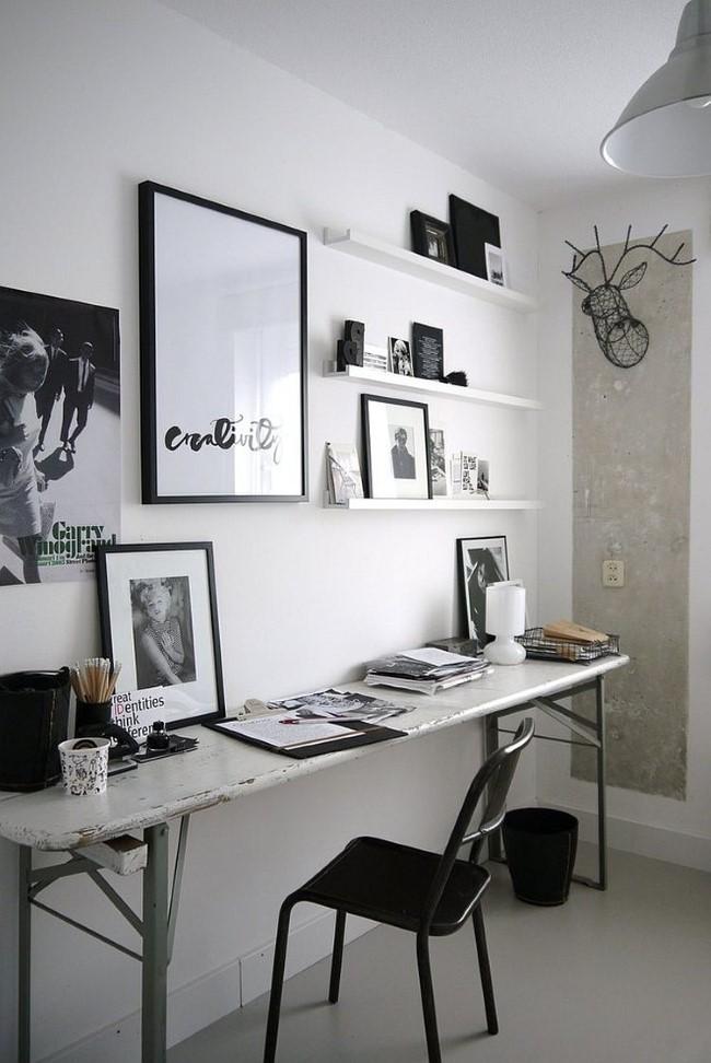 Стильный черно-белый домашний кабинет в индустриальном стиле с элементами серого цвета.