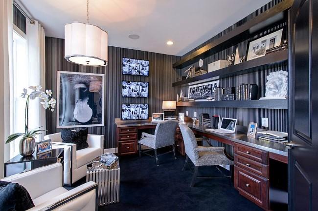 Черно-белый домашний офис с рабочей зоной и зоной отдыха.