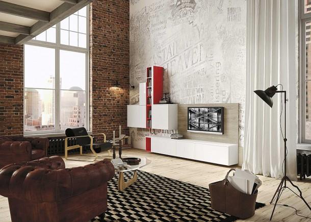 Граница между гостиной и кухней в дизайне от Snaidero