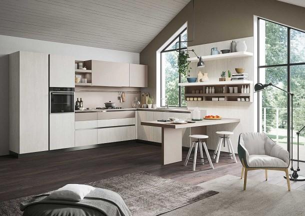 Яркий кухонный дизайн с угловым гарнитуром