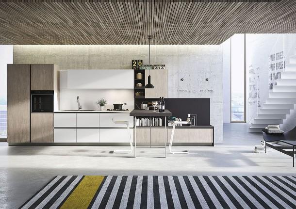 Сочетание дерева и полированных поверхностей в дизайне минималистской кухни
