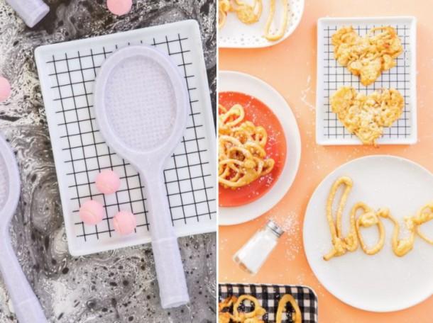Клетчатая посуда в сочетании с пастельными тонами в интерьере