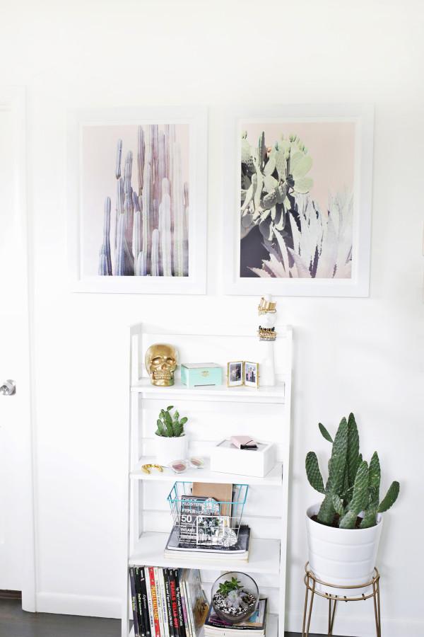 Пастельные изображения кактусов создают мягкую, стильную атмосферу