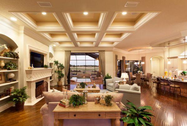 Элегантный потолок и теплое освещение придают комнате безукоризненный вид