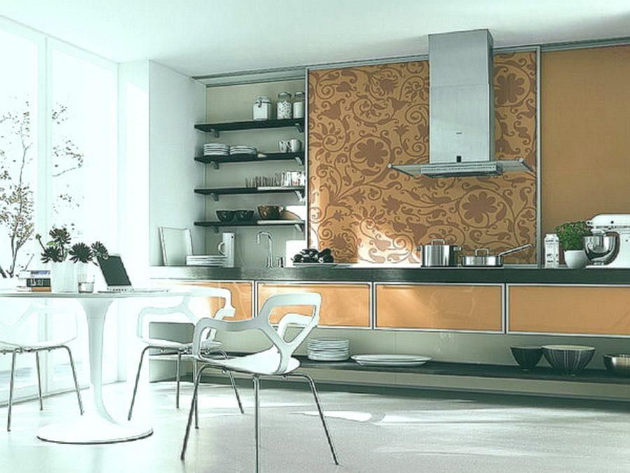 Комбинирование обоев оживляет кухню