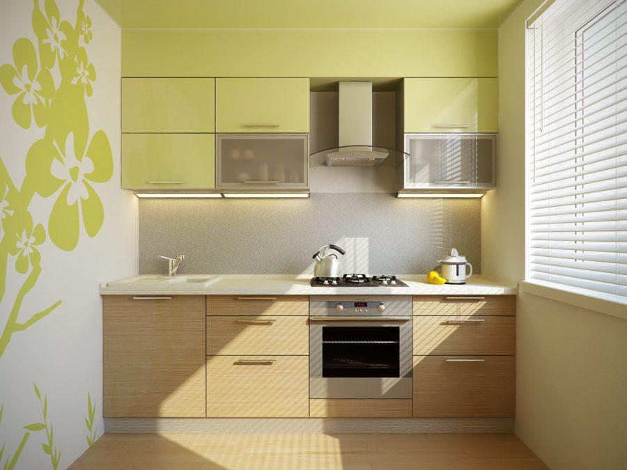 Комбинированные обои на кухне в зеленых тонах