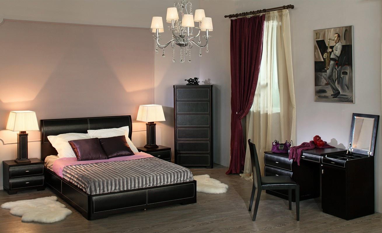 Спальня с дизайном в цвете венге