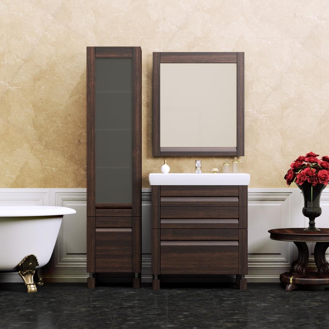 Цвет венге в мебели в интерьере ванной